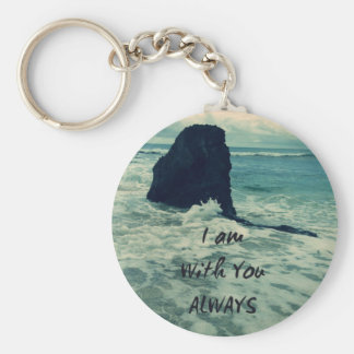 Inspirational Bible Verse I am With You Always Keychain