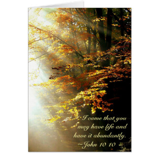 Inspirational Bible Verse John 10 10 Fall Leaves Card