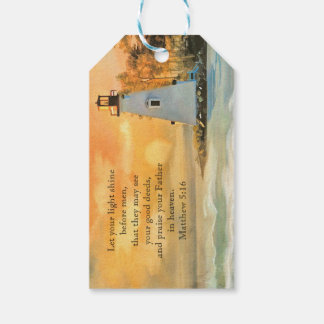 Inspirational Bible Verse Lighthouse Sunset Gift Tags