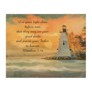 Inspirational Bible Verse Lighthouse Sunset Wood Prints