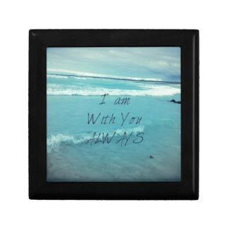 Inspirational Bible Verse ocean - I am With You Keepsake Boxes