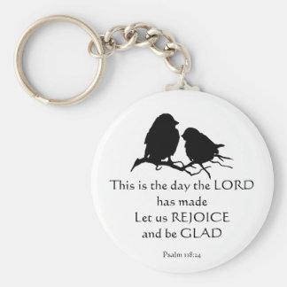 Inspirational Bible Verse Psalm 118:24 Birds Keychain