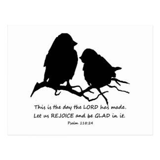 Inspirational Bible Verse Psalm 118:24 Birds Postcard