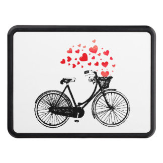 Inspirational Bike with Love Hearts Vintage Trailer Hitch Cover