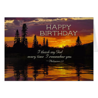 Inspirational Birthday Philippians 1:2-3 Sunset. Card