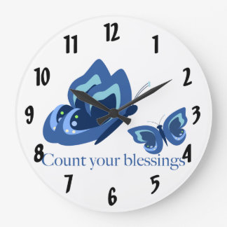 Inspirational Blue Butterflies Blessings Large Clock