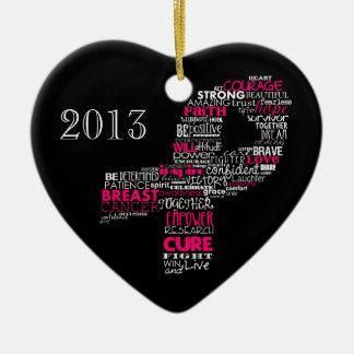 Inspirational Breast Cancer Awareness Ribbon Christmas Tree Ornaments