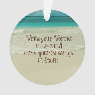 Inspirational Carve your Blessings in Stone Quote Ornament