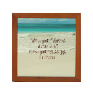 Inspirational Carve your Blessings in Stone Quote Pencil/Pen Holder