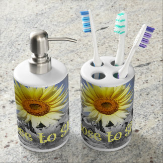 Inspirational Choose to Shine Quote with Sunflower Bathroom Set