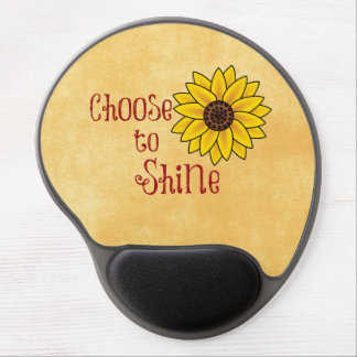Inspirational Choose to Shine Quote with Sunflower Gel Mouse Mat