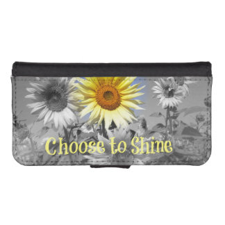 Inspirational Choose to Shine Quote with Sunflower Phone Wallet