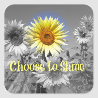 Inspirational Choose to Shine Quote with Sunflower Square Sticker