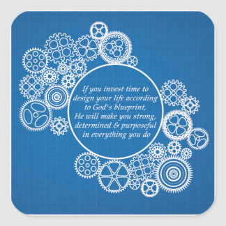 Inspirational Christian Quote - God's Blueprint Square Sticker
