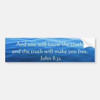 Inspirational Christian Quote - John 8:32 Bumper Sticker