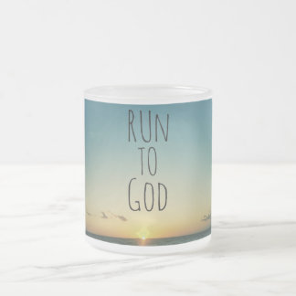 Inspirational Christian Quote Run to God 10 Oz Frosted Glass Coffee Mug