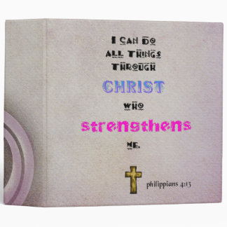 Inspirational Christian Scripture Quote Typography 3 Ring Binder