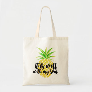 Inspirational Christian Typography Pineapple Tote Bag