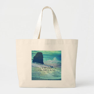 Inspirational courage quote JOAN OF ARC sea ocean Large Tote Bag