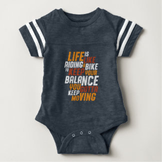 Inspirational Cycling Quote Life Like Riding Bike Baby Bodysuit