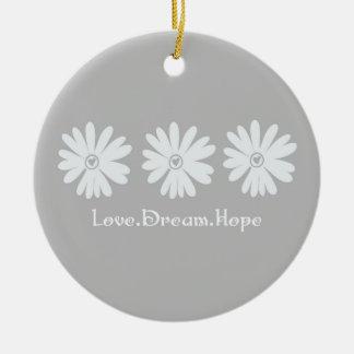 Inspirational Daisies Round Ceramic Ornament