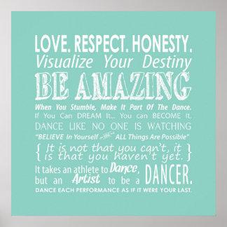 Inspirational Dance Quotes Poster- Aqua Poster