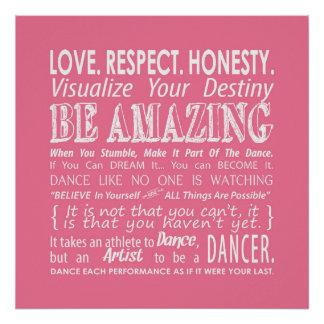 Inspirational Dance Quotes Poster- Pink Poster