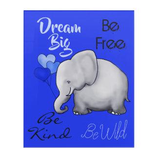 Inspirational Dream Big Elephant Nursery Acrylic Print