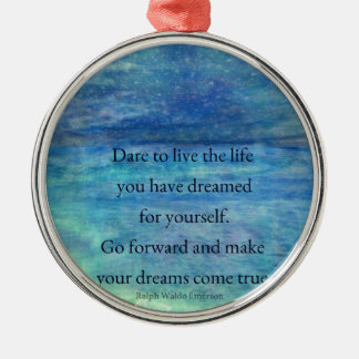 Inspirational DREAM quote Silver-Colored Round Ornament