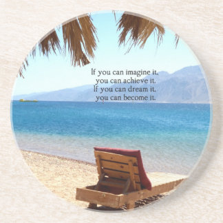 Inspirational DREAM quote with scenic beach photo Drink Coaster