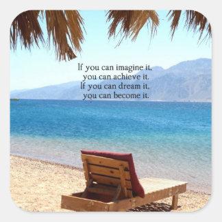 Inspirational DREAM quote with scenic beach photo Square Sticker