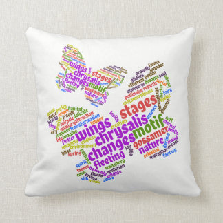 Inspirational Elegant Butterfly Tag Cloud Throw Pillow