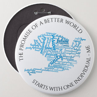 Inspirational Elegant Dove of Peace Tag Cloud 6 Inch Round Button