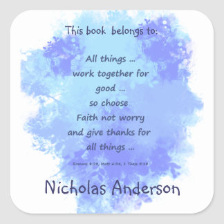 Inspirational Faith Bible Scriptures Bookplate Square Sticker