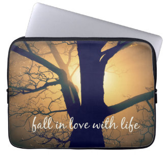 Inspirational Fall in Love with Life Quote Laptop Sleeve