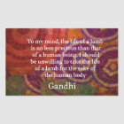 Inspirational Gandhi animal rights quote ART Sticker
