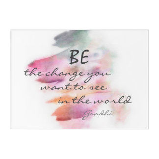 inspirational Gandhi quote be the change wall art