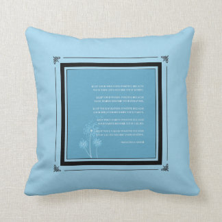 Inspirational Gandhi Quote Good Habits  | Blue Throw Pillow