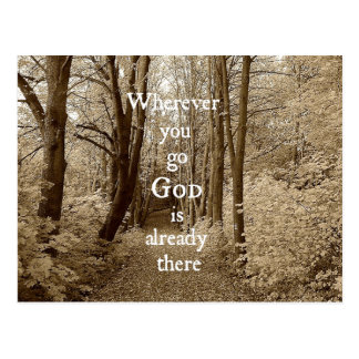 Inspirational God is Already There Christian Quote Postcard