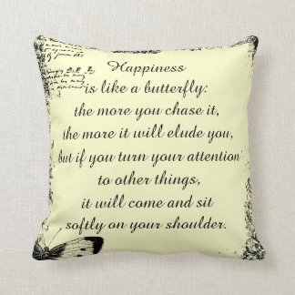 Inspirational Happiness Quote Throw Pillow