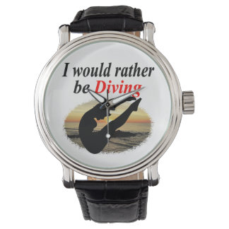 INSPIRATIONAL I WOULD RATHER BE DIVING DESIGN WRISTWATCH