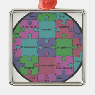 INSPIRATIONAL JIGSAW PUZZLE QUOTE Silver-Colored SQUARE ORNAMENT