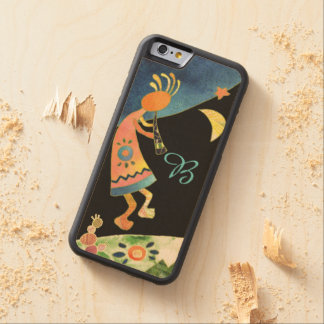 Inspirational Kokopelli Monogram Carved Maple iPhone 6 Bumper Case