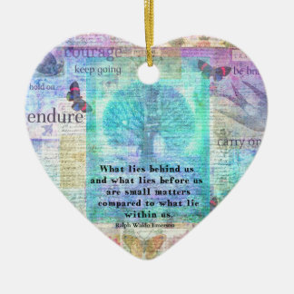 Inspirational Life Quote Ceramic Heart Ornament