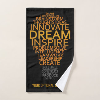Inspirational Lightbulb custom text hand towel