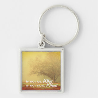 Inspirational Lone Tree Landscape Silver-Colored Square Keychain