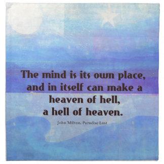 Inspirational Milton quote Paradise Lost Cloth Napkin