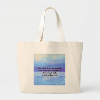 Inspirational Milton quote Paradise Lost Large Tote Bag