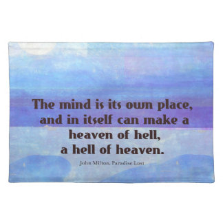 Inspirational Milton quote Paradise Lost Placemat