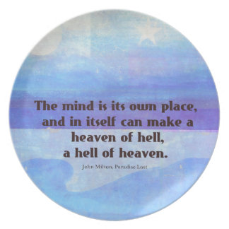 Inspirational Milton quote Paradise Lost Plate